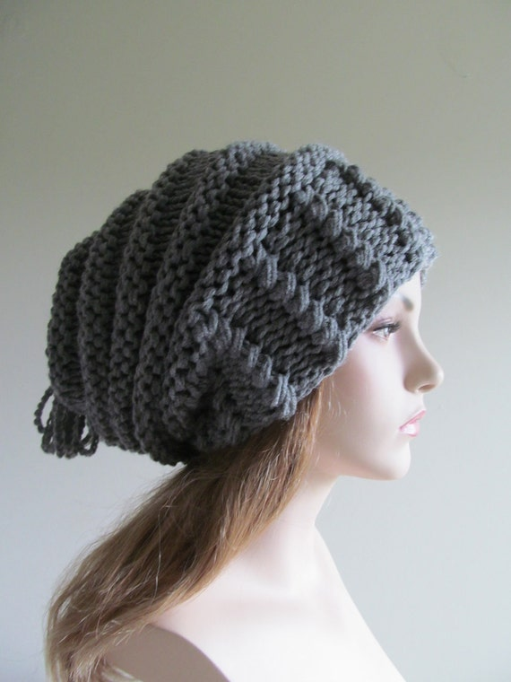 Oversized Slouchy Beanie Grey Slouch Chunky Hats  Baggy womens spring accessory Gray Hand Made Knit