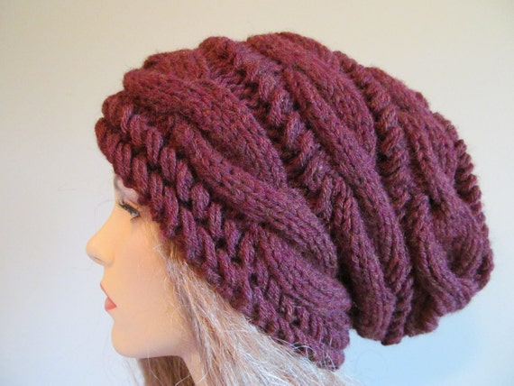 Slouchy Beanie Slouch Hats Oversized Baggy cabled hat  womens Fall Winter accessory Chestnut Brown Burgundy Hand Made Knit