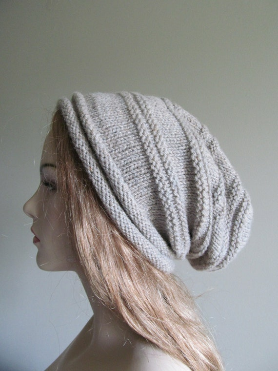 Slouchy Beanie Slouch Grey Wool Gray Hats Oversize Baggy Hand Knit Cozy