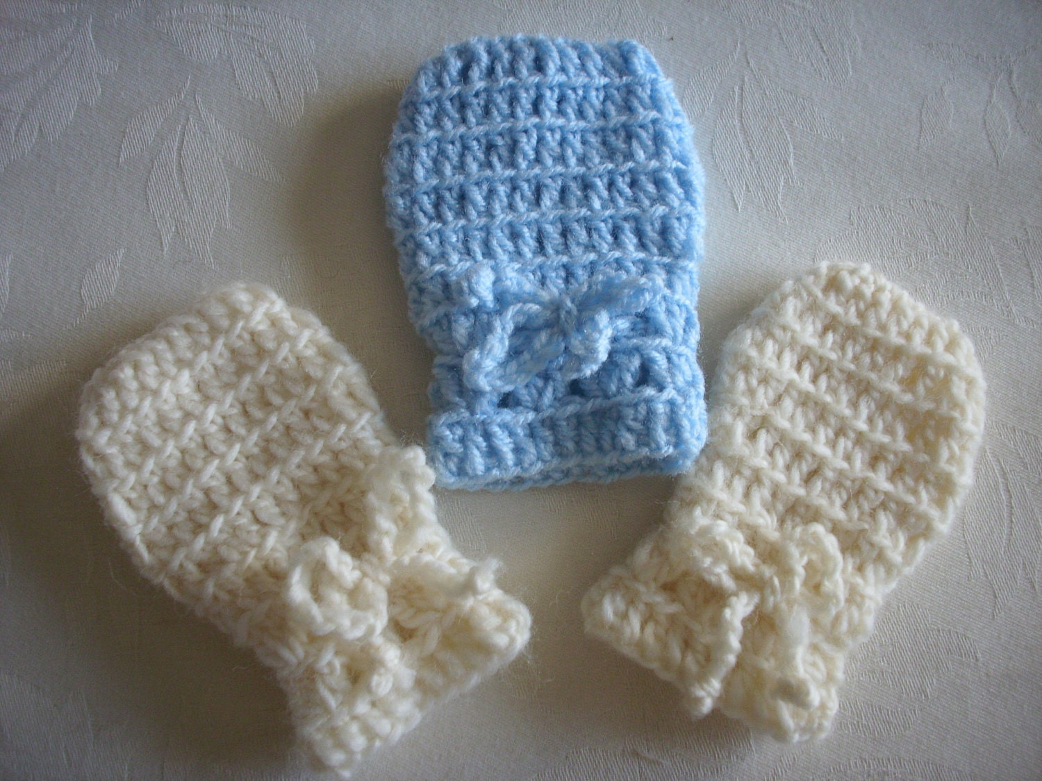 Crochet Pattern For Newborn Baby Sweater : PDF CROCHET PATTERN Baby Infant Thumbless Mittens Winter