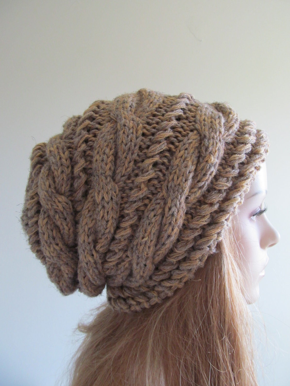Loose Beret Knitting Pattern : Slouchy Beanie Slouch Hats Braided Oversized Baggy Cable Hat