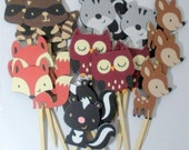 Woodland Cupcake Toppers, Forest, Animal, Party supplies, set of 18 Decorations, die cuts