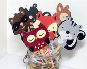 Forest, Woodland Birthday Party supplies, Cupcake Toppers, Set of 12  Animal Decorations, die cuts