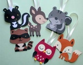 Woodland, Forest  favor tags, goodie bag tags Set of 12, Animal Decorations, Party Supplies, die cuts