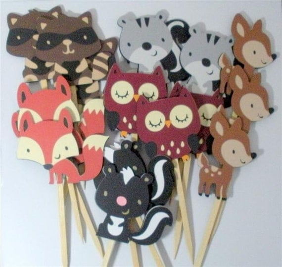 Items similar to woodland cupcake toppers forest animal for Animal party decoration