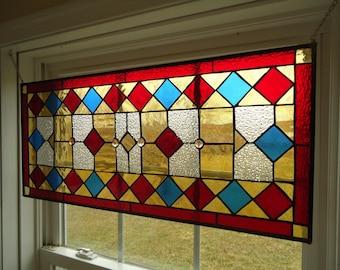 "Stained Glass Transom Window Suncatcher Panel Valance 30"" x 13.5"""