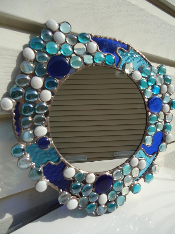 Stained Glass Mirror Blue from helioglass on etsy