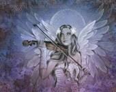 CELESTIAL HYMN dreamlike angel playing a violin 10 x 8 giclee print by Jessica Galbreth