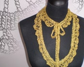 crocheted silk gold necklace