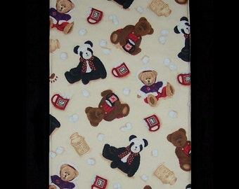 Burp Cloth Hot Chocolate Bears featuring colorful teddy bears enjoying a treat of hot chocolate with marshmallows, BC034