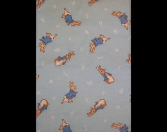 Burp Cloth Bunny Something features bunnies with blue coat, alphabet letters on light blue background,  BC060