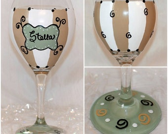 Stella's Groove Hand-painted Wine Glass