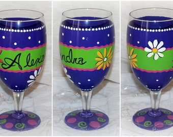 Hand painted giraffe wine glass with bling initial for Painted wine glasses with initials