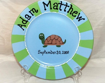 Hand Painted Striped Birth Baby Decorative Plate Turtle