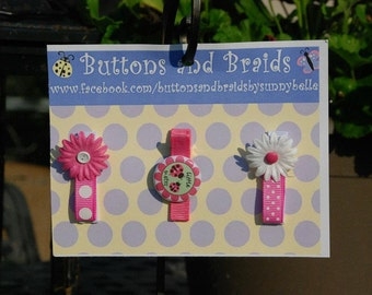 Boutique Style Little Sister and Daisy Hair Clip Set for Babies and Toddlers