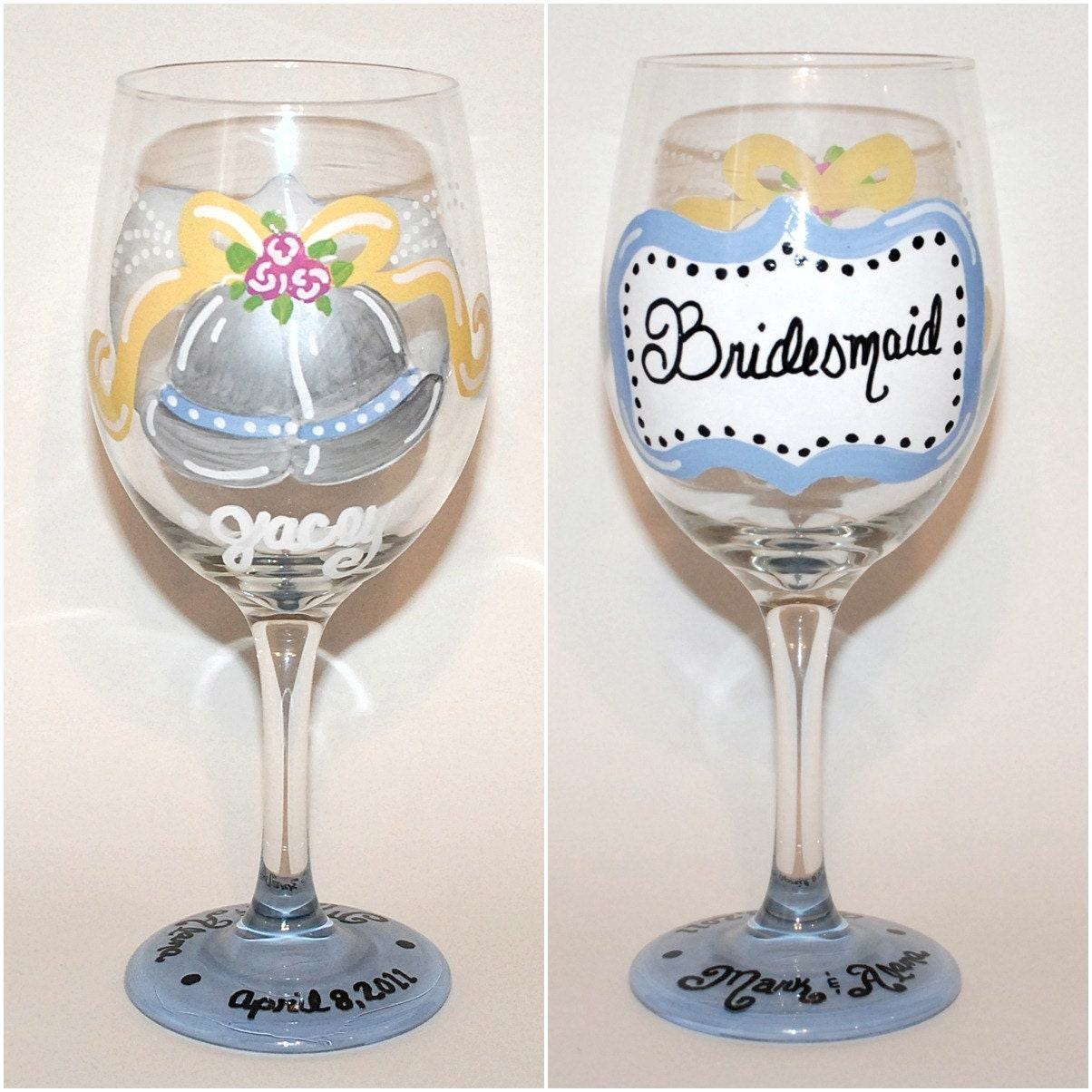 Hand Painted Wedding Bells Wine Glass By SunnyBelleDesigns On Etsy