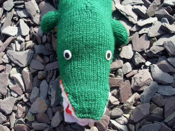 Hand knitted Childrens / Babies Green Crocodile Toy Doll - Suitable from birth.