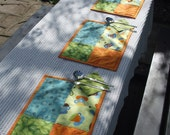 Tablemats, quilted patchwork, coffee and citrus, set of 6