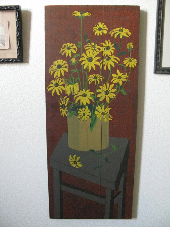 Vintage George Nathan Associated Black-Eyed Susans Sunflowers Hand Screened