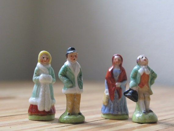Vintage Miniature Victorian Porcelain Collectible Figurine Free Shipping