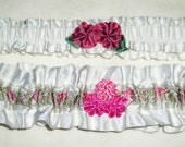 Pair of Elegant Pink and White Wedding Garters with French Jacquard Ribbon and handmade flowers