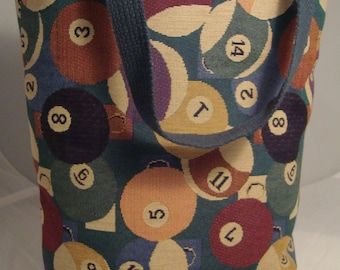 Billards/Pool Theme Tapestry Totebag with Quilted Lining, Inside Pockets, and Cotton Webbing Handles