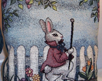 Tapestry Shoulder Bag Featuring The White Rabbit, Quilted Lining with Inside Pockets