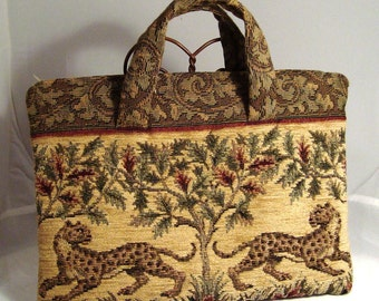 Spotted Leopard Tapestry Envelope Zip Bag or Laptop Carrier