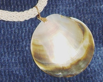 VIntage Abalone Pearl Shell Pendant on Braided Cord Necklace