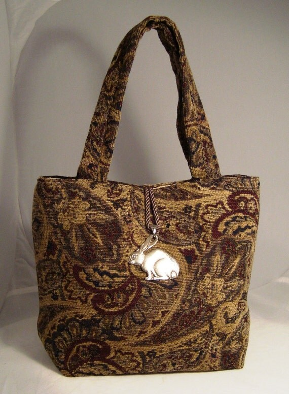 Classic Antique Motif Tapestry Tote Bag with Pewter Bunny Detail