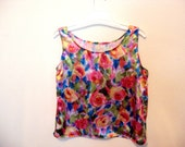 Colorful floral tank top shirt  S/M