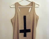 SALE inverted cross beige tank racerback  medium