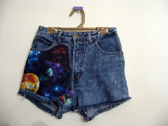 Nebula space galaxy High  Waisted Shorts 26 inches