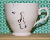 Lonely heart vintage bunny teacup