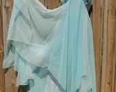 Angelic light blue flowy goddess gown