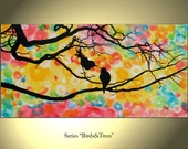 Bird Tree Painting Flower Original Modern Landscape Abstract Large