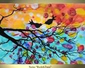 Tree Painting Birds Flower Original Modern Landscape Abstract Large