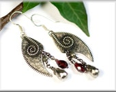 "Earrings ""wings of a witch"" made of sterling silver and garnet"