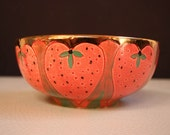 Bukran Original Unique bowl 7 - Birthday Leaf Gold Flower Hand Painted Orange Handmade Gift Candy Hungarian Present Ceramics Ars an Crafts
