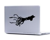 Giant Squid Vinyl Laptop or Automotive Art FREE SHIPPING, octopus kracken netbook art notebook sticker squid sticker laptop squid nautical