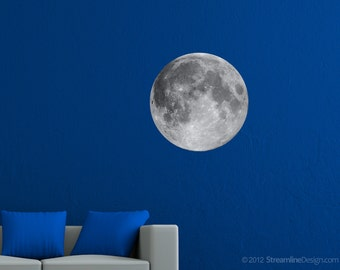 Large Moon Print High Resolution Image on Reusable Adhesive Fabric lunar full moon moonscape science astronomy wall art print sticker