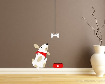 Poor Puppy Dog Just Wants His Bone Printed Removable Vinyl Wall Art, silly dog wall sticker dog bowl dog bone puppy pets dog wall sticker