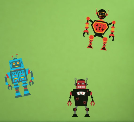 Robot Invasion Printed Removable Wall Vinyl Decorations Choice of Three, robots scifi kids room boys room wall stickers robot theme
