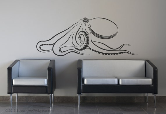 giant octopus wall decal large octopus decal kraken squid. Black Bedroom Furniture Sets. Home Design Ideas