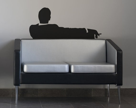 Mad Business Men Sitting On Couch Smoking Removable Vinyl Wall Art, Don draper mad men office wall decor couch art wall sticker tv show