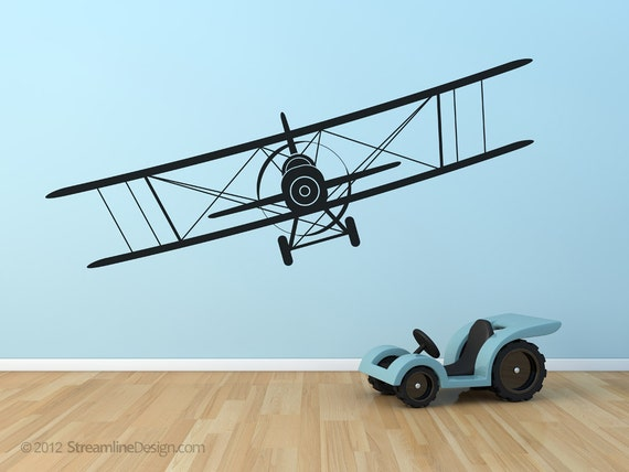 Giant Airplanes Removable Vinyl Wall Art 4 Styles To Choose From kids childrens room planes biplanes flying pilot biplane airplane