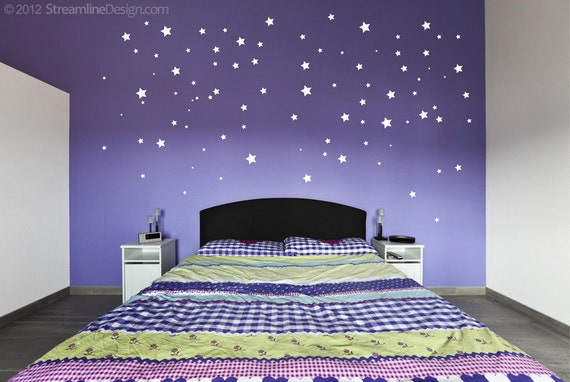 Twinkle Twinkle Little 108 Removable Vinyl Stars Wall Art Stickers night sky constellations childrens bedroom peel and stick star stickers