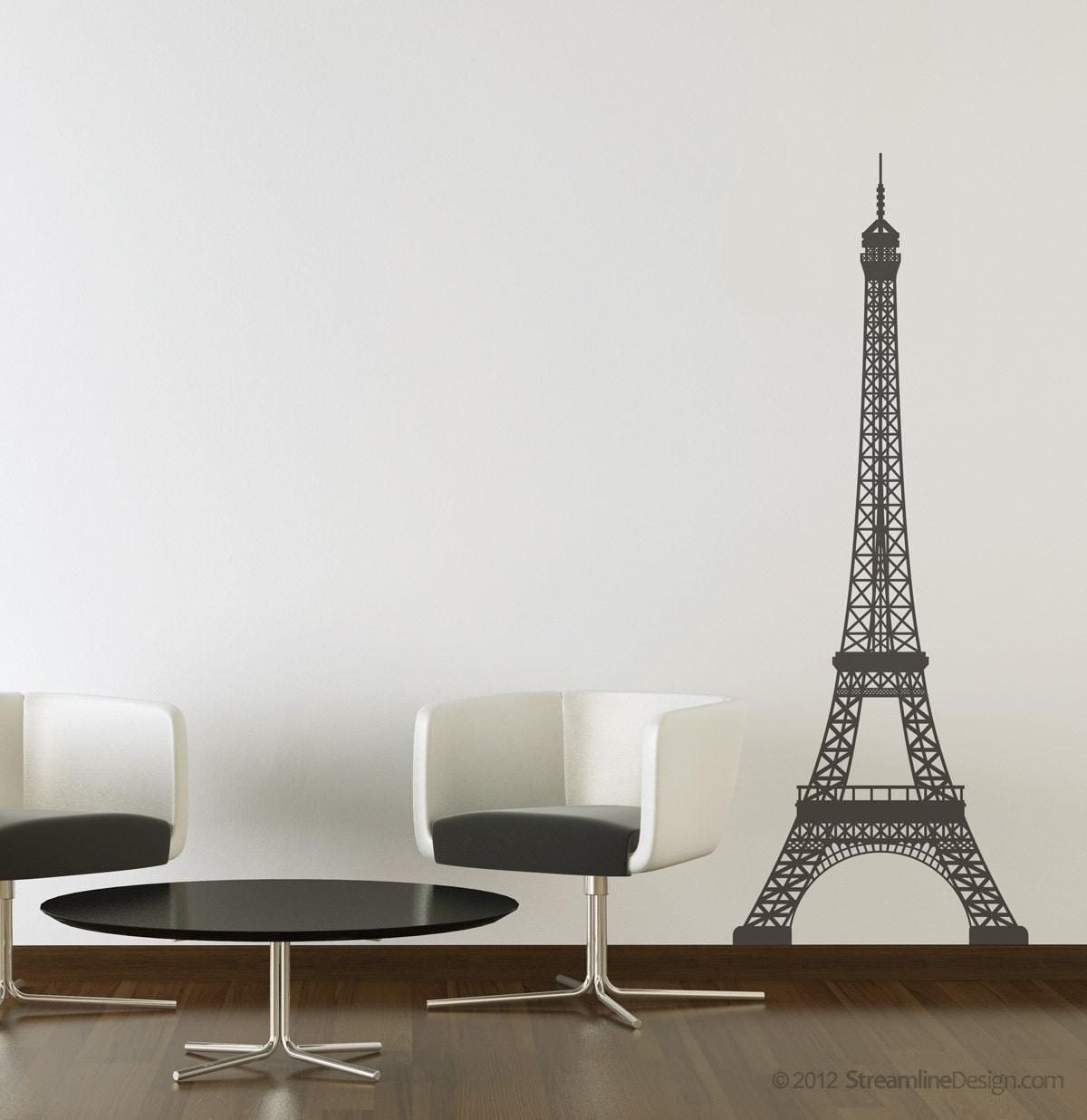 Eiffel Tower Wall Art eiffel tower vinyl wall art decoration 5 feet tall france