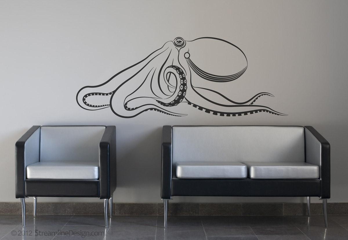 giant octopus removable vinyl wall art release the kraken. Black Bedroom Furniture Sets. Home Design Ideas
