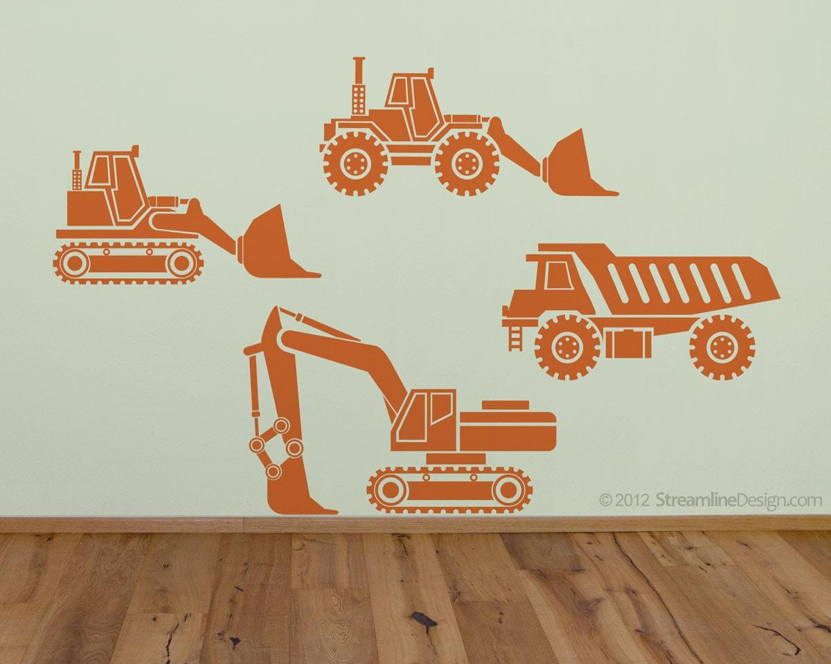 kids big rig construction vehicles set 1 removable vinyl wall